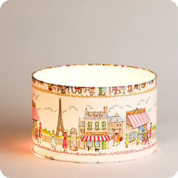 Superb Drum Fabric Lamp Shade / Pendant Shade Happy Paris Ø40