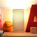 Cylinder fabric table lamp in Petit Pan fabric Wasabi