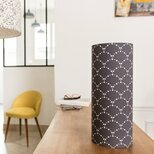 Cylinder fabric table lamp Asahi gris