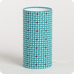 Cylinder fabric table lamp in Petit Pan fabric Hélium turquoise
