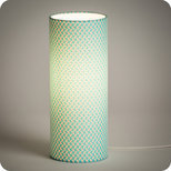Cylinder fabric table lamp in Petit Pan fabric Pépin azur
