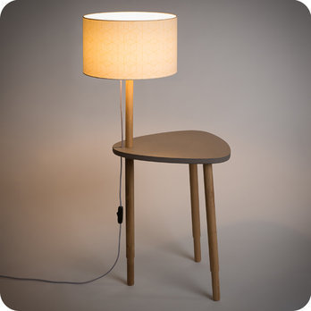Séléné Side table with lamp in solid oak