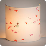 Fabric half lamp shade for wall light Hirondelles rose