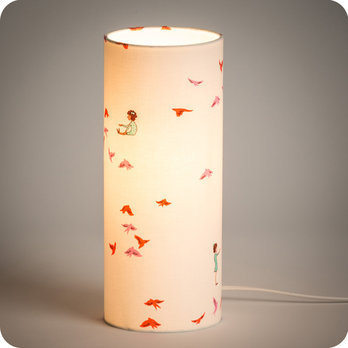 Cylinder fabric table lamp Hirondelles rose