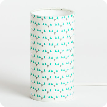 Cylinder fabric table lamp Mistinguett turquoise