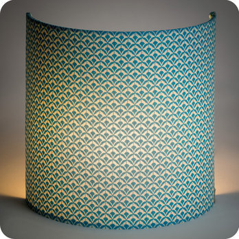 Fabric half lamp shade for wall light Blue aka
