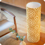 Cylinder fabric table lamp Sun yellow