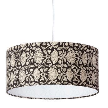 Drum fabric lamp shade / pendant shade Lotus black