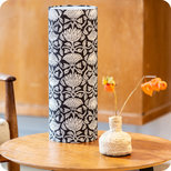 Cylinder fabric table lamp Lotus black