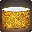 Drum fabric lamp shade / pendant shade Sun yellow lit Ø30
