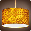 Drum fabric pendant shade Sun yellow lit Ø30