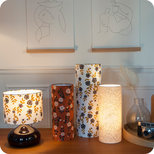 Cylinder fabric table lamp Billie brique