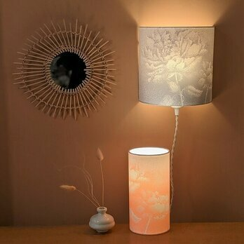 Fabric half lamp shade for wall light Pivoine gris