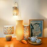 Plug-in pendant lamp in fabric Lodden bleu gris Morris&co