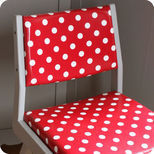 Wooden chair-armchair in red polka dot