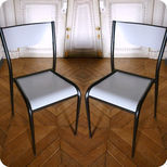 Pair of wooden and steel school chairs