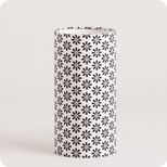 Cylinder fabric table lamp Black daisy