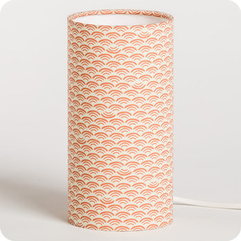 Cylinder fabric table lamp Shawa rose S