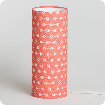 Cylinder fabric table lamp Ozora pink S