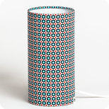 Cylinder fabric table lamp in Petit Pan fabric Mikko blanc