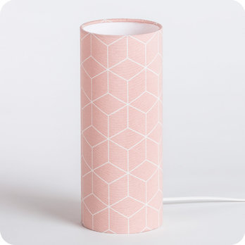 Cylinder fabric table lamp Cubic rose M
