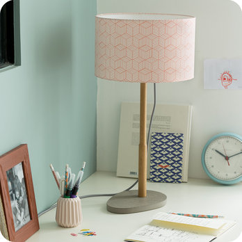 Helios table lamp with shade Cinetic corail Ø30