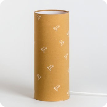 Cylinder fabric table lamp Bye bye birdie M