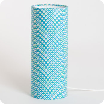 Cylinder fabric table lamp Blue aka M