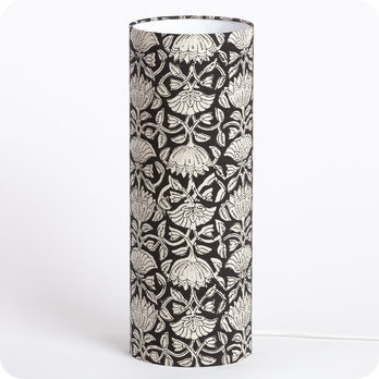 Cylinder fabric table lamp Lotus black L