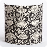 Fabric half lamp shade for wall light Lotus black