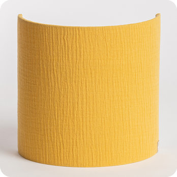 Cotton gauze half lamp shade for wall light Moutarde