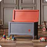 Grey and orange toy chest